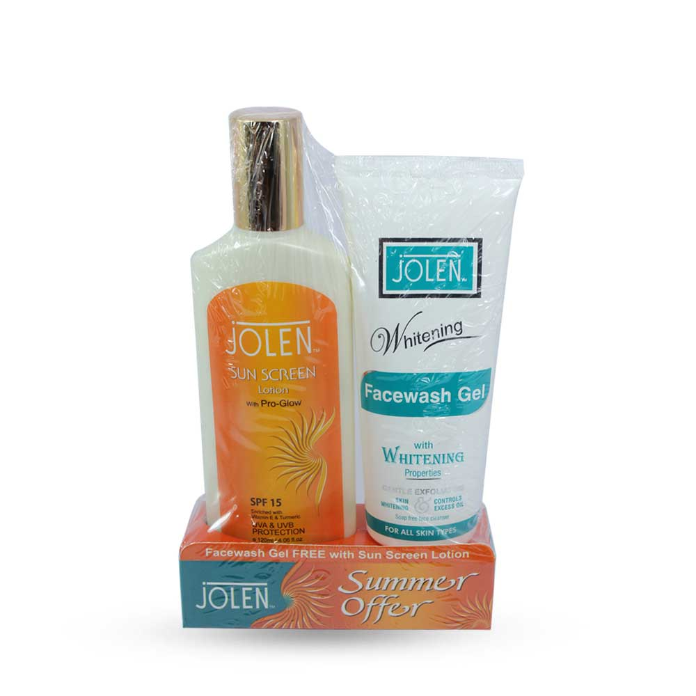 Jolen Sun Screen Lotion With PRO Glow (Whitening Face Wash Gel Free )
