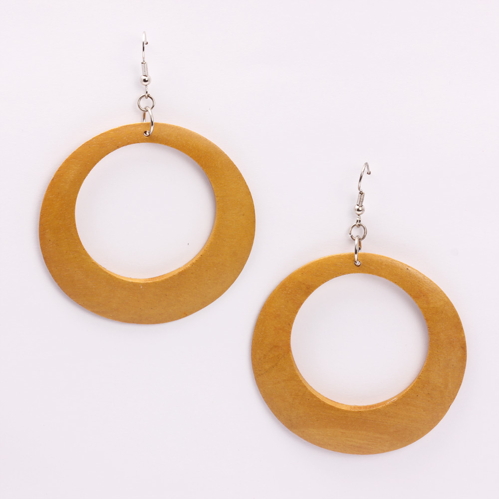 Hollow Circle Wooden Earrings(Yellow)(KhoobSurati)