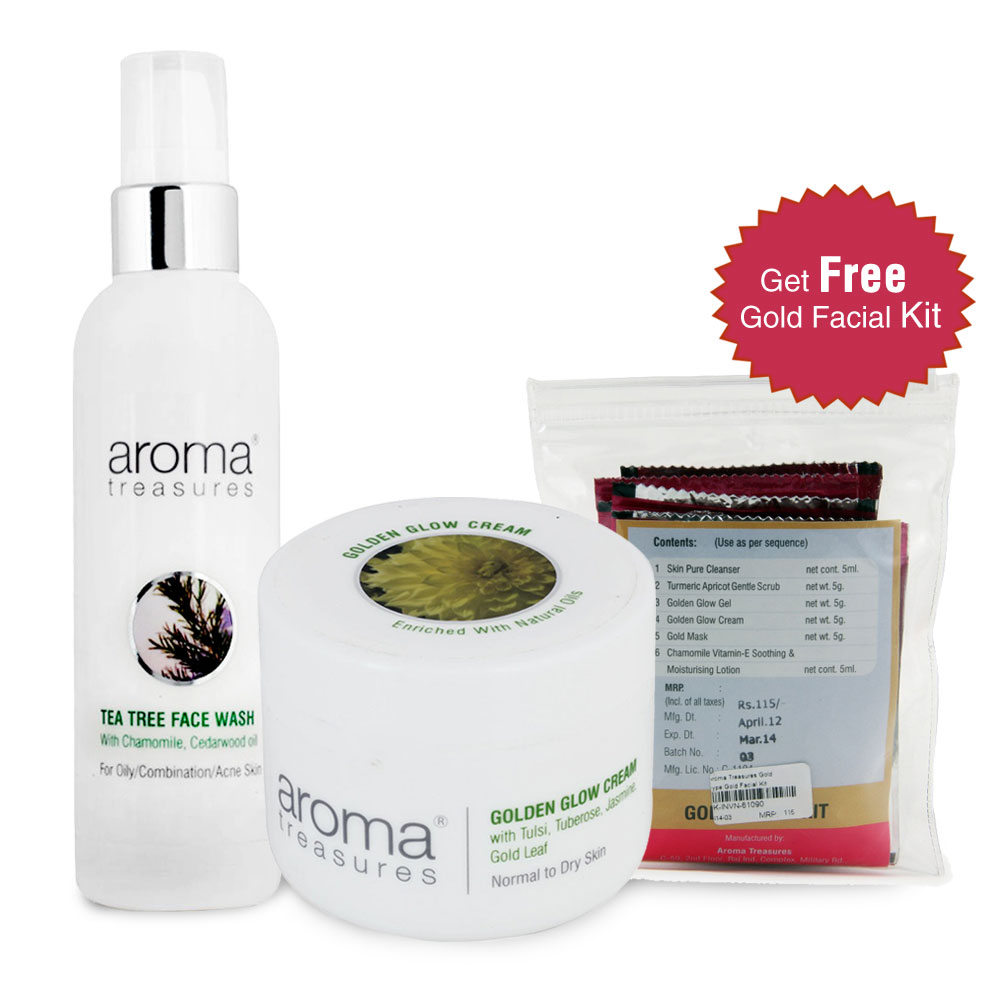 Aroma Treasures Tea Tree Face Wash and Golden Glow Cream Combo Offer