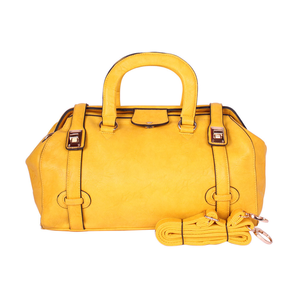 AAR Luxurious Leather Handbag With Small Flap (Yellow)