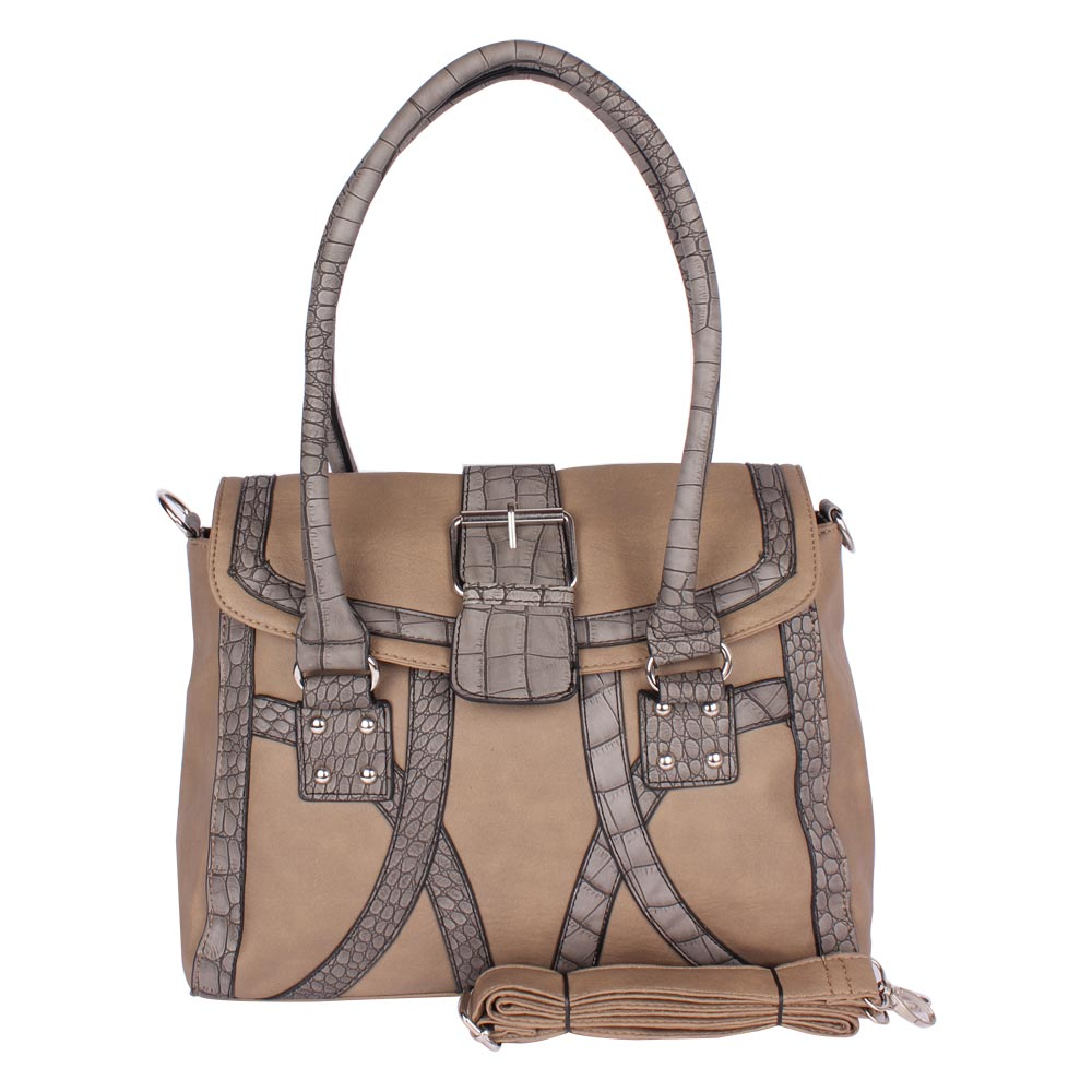 AAR Stylish Stripped Leather Handbag (Brown)