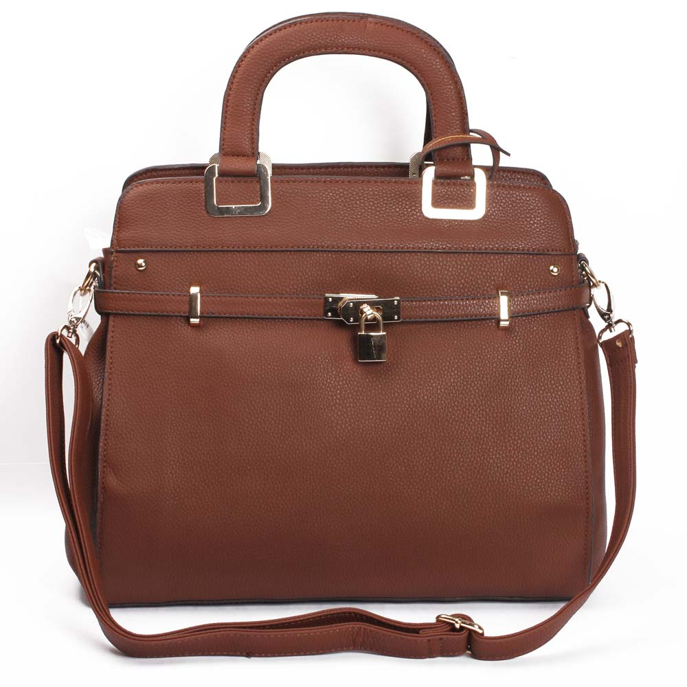 Briefcase Style Hand Bag (Brown) (KhoobSurati)