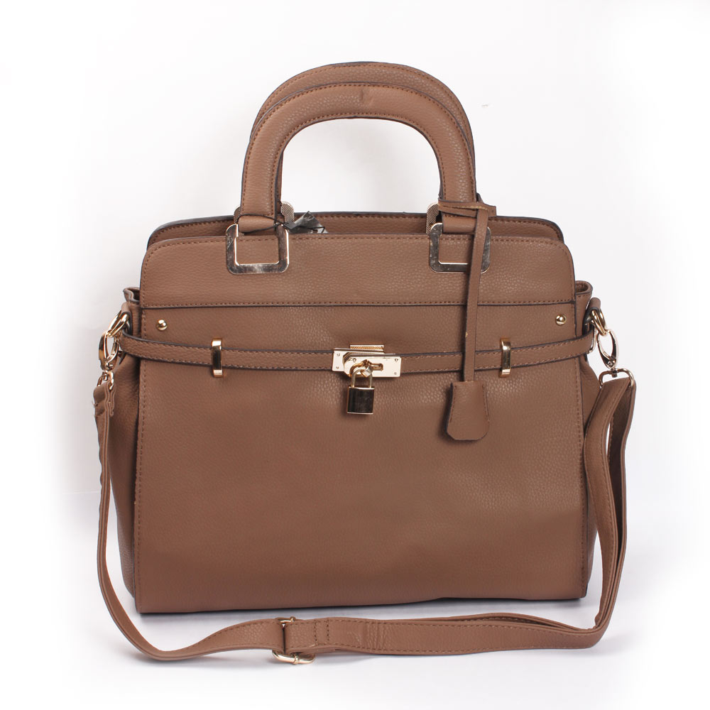 Briefcase Style Hand Bag (Light Brown) (KhoobSurati)