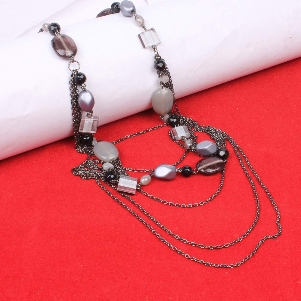 Zovon Magnificent Multi Metallic Chain Neckpiece with Multi Sized Stone Pieces