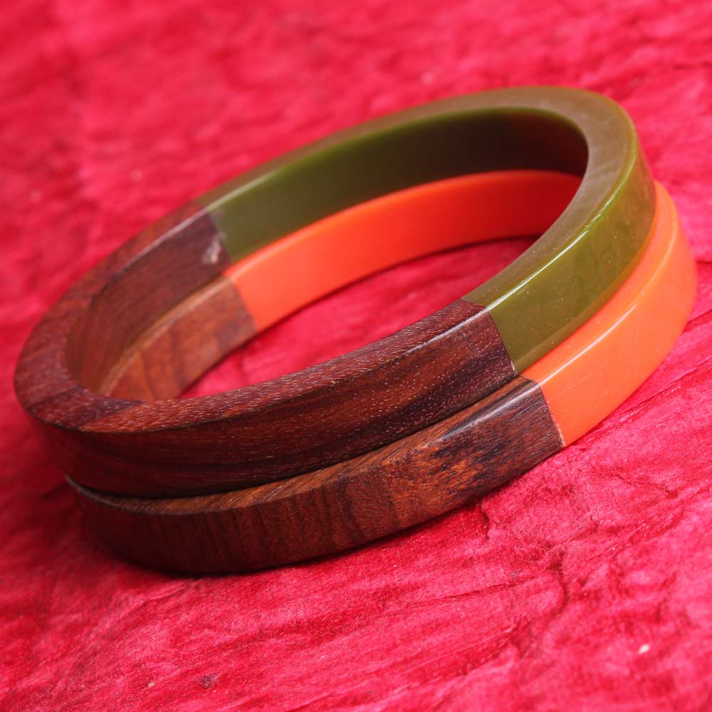 Zovon Semi-Plastic and Semi-Wooden Set of Two Bangles (2 pc)