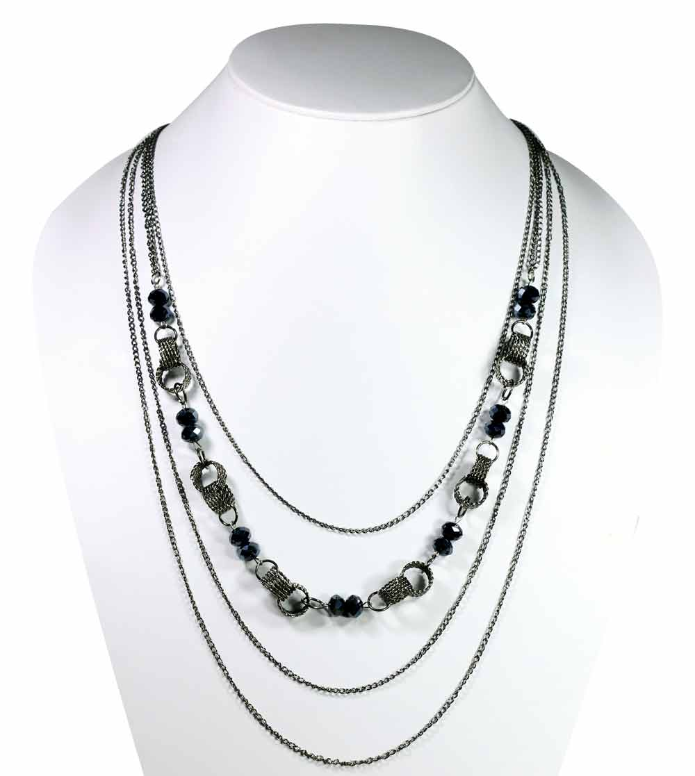 Zovon Silver Black Wire Ring Long Strings with Crystal Beads Necklace
