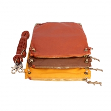 Trendy Detachable Tri-alcove Slingbag (Orange-Brown) (Khoobsurati) Online Shopping