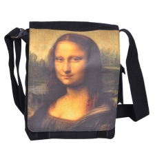 Leo Mona Lisa Printed Black Sling Bag for Men Online Shopping