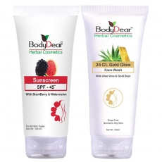 BodyDear Combo - 24 Ct. Gold Glow Face Wash, 100ml + Sunscreen SPF 45, 100gm