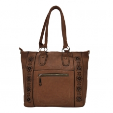 khoobsurati Cocoa Color Handbag with Cut-Out Flower Design