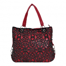 Khoobsurati Sensuous Dark Warm Red Color Embellished Handbag