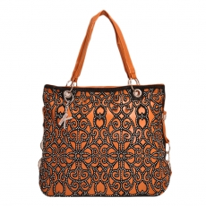 khoobsurati Studs Adorned Bright Orange & Black Color Handbag